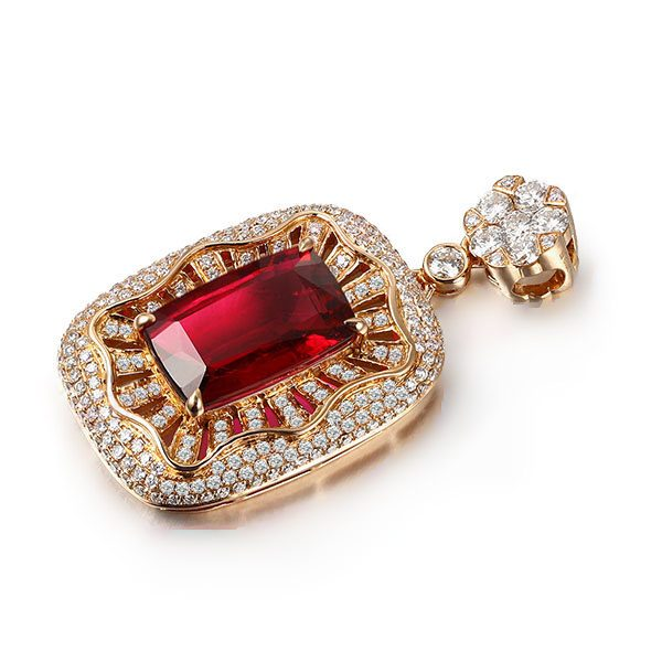 8.11ct Natural Red Tourmaline in 18K Gold Pendant