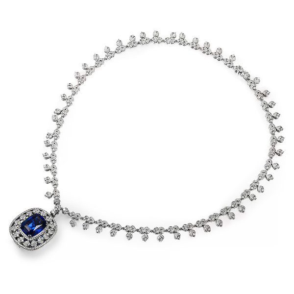 18ct Natural Blue Tanzanite in 18K Gold Necklace