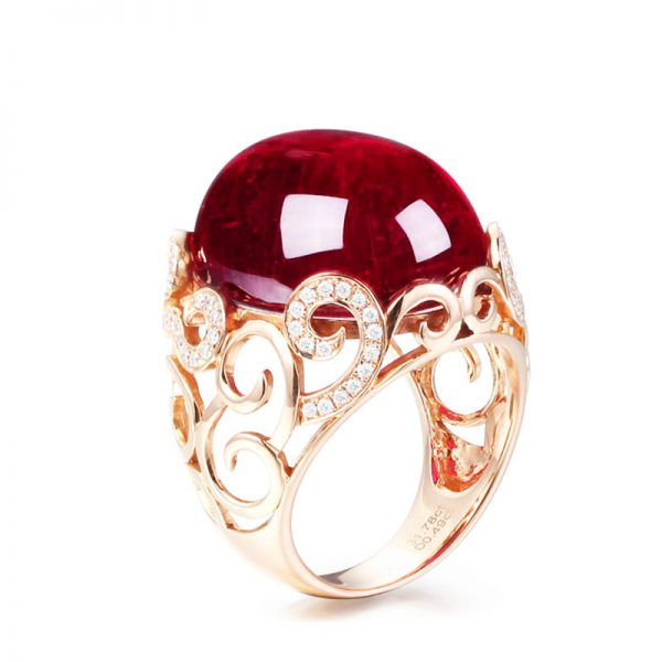 31.78ct Natural Red Tourmaline in 18K Gold Ring