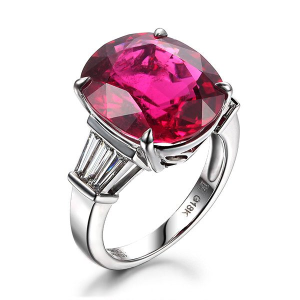 6.57ct Natural Red Tourmaline in 18K Gold Ring