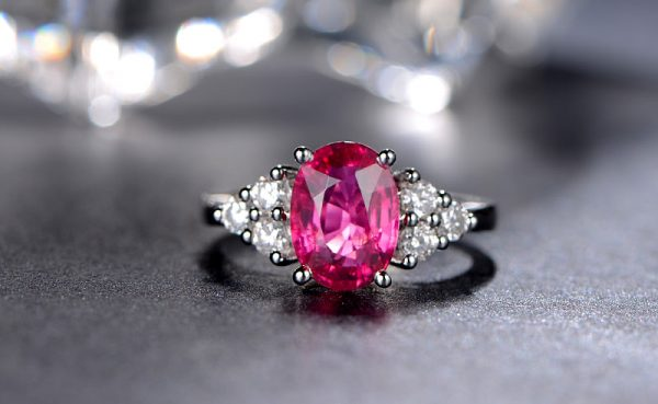 2.56ct Natural Red Tourmaline in 18K Gold Ring