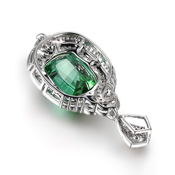 14.25ct Natural Green Tourmaline in 18K Gold Pendant