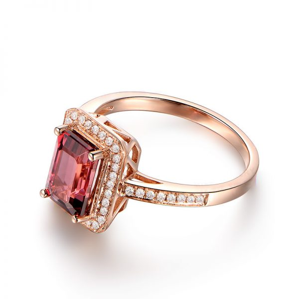 2.15ct Natural Pink Tourmaline in 18K Gold Ring