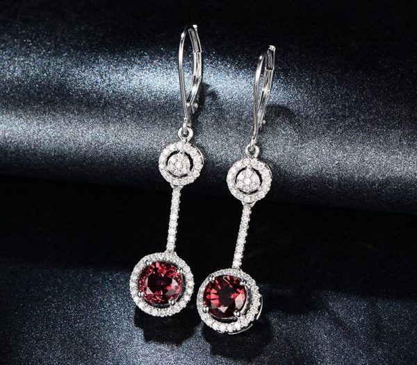 3.09ct Natural Red Tourmaline in 18K Gold Earring