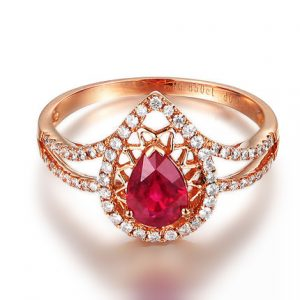 0.85ct Natural Red Ruby in 18K Gold Ring