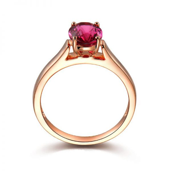 1.06ct Natural Red Tourmaline in 18K Gold Ring