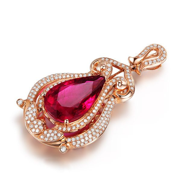 6.73ct Natural Red Tourmaline in 18K Gold Pendant