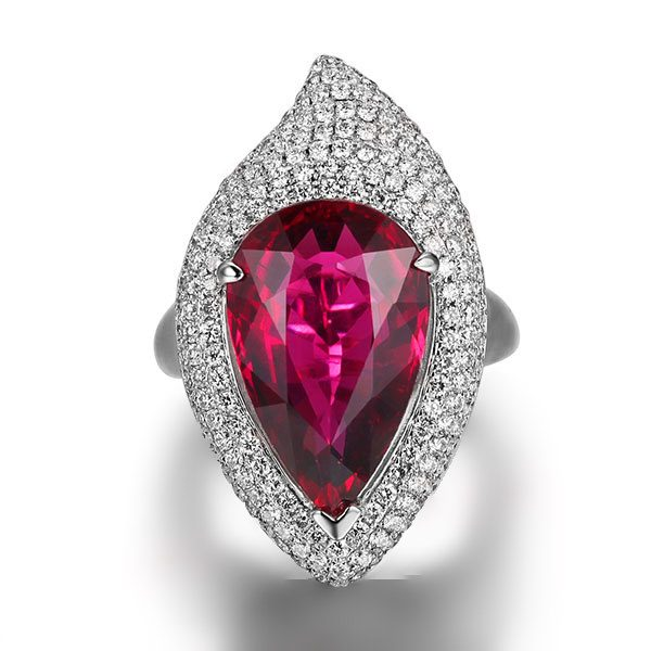 9.33ct Natural Red Tourmaline in 18K Gold Ring