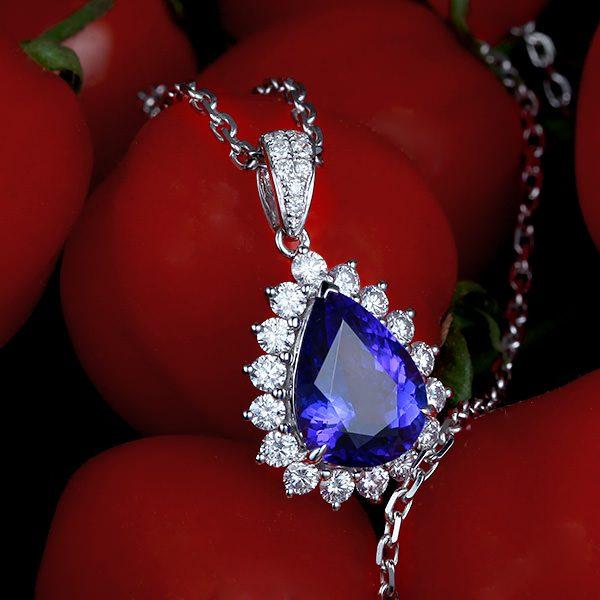 4.29ct Natural Blue Tanzanite in 18K Gold Pendant