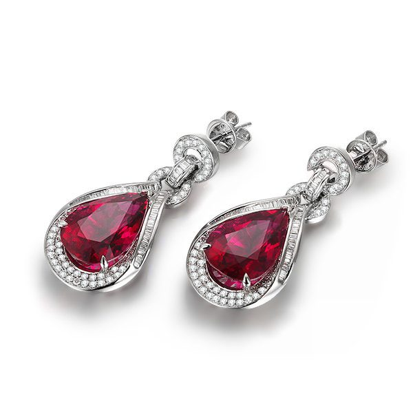 17.55ct Natural Red Tourmaline in 18K Gold Earring