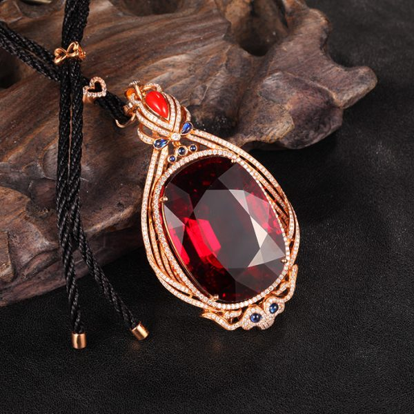 125.67ct Natural Red Tourmaline in 18K Gold Pendant