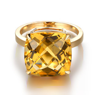 9.67ct Natural Yellow Citrine in 18K Gold Ring