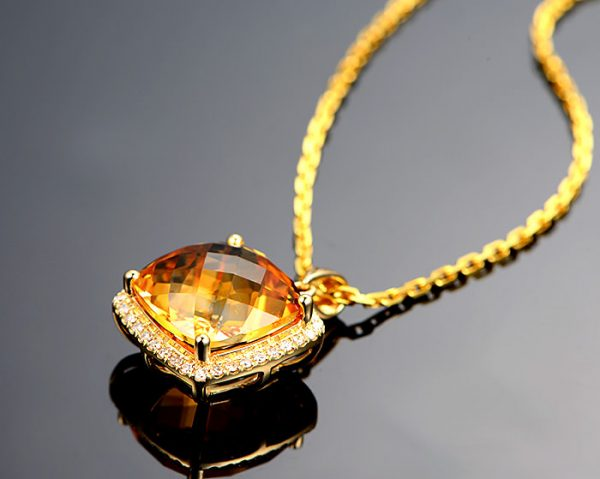 10.55ct Natural Yellow Citrine in 18K Gold Pendant