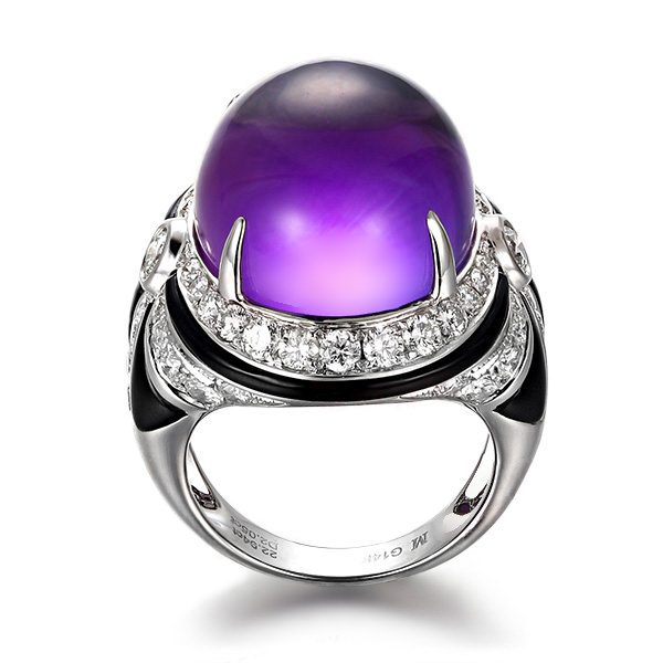 22.94ct Natural Purple Amethyst in 18K Gold Ring