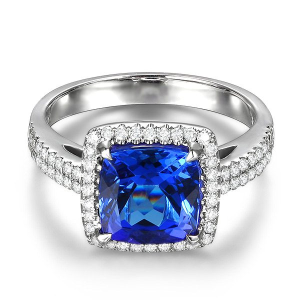 3.32ct Natural Blue Tanzanite in 18K Gold Ring