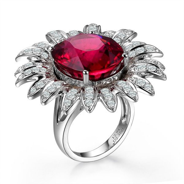 12.94ct Natural Red Tourmaline in 18K Gold Ring