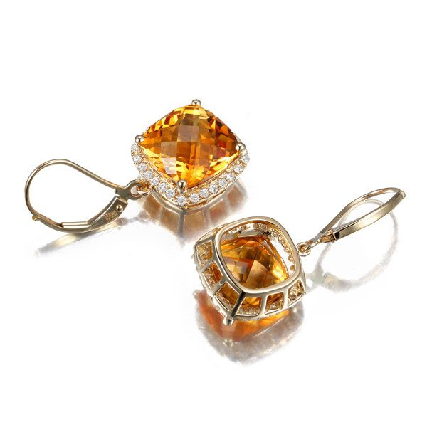 10ct Natural Yellow Citrine in 14K Gold Earring
