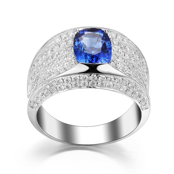 2.75ct Natural Blue Sapphire in 18K Gold Ring