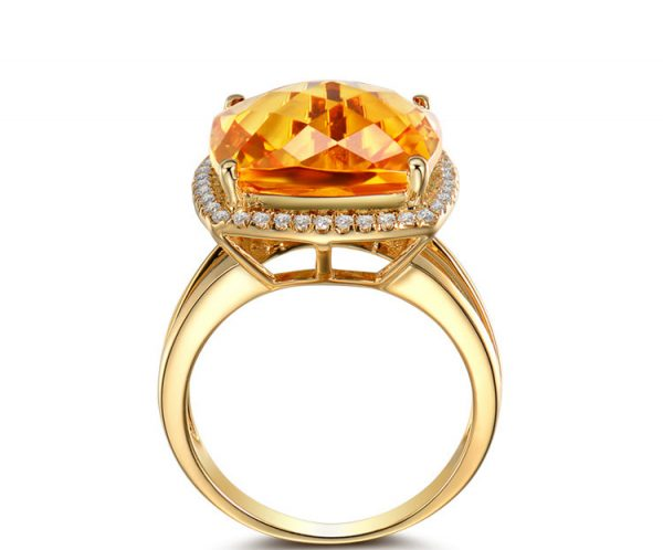 10.56ct Natural Yellow Citrine in 18K Gold Ring