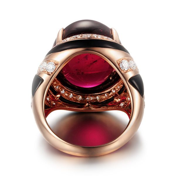 28ct Natural Red Tourmaline in 18K Gold Ring