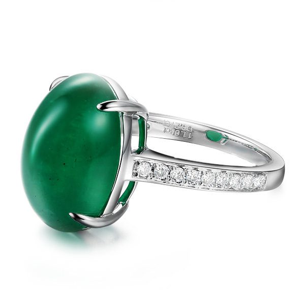 11.5ct Natural Green Emerald in 18K Gold Ring