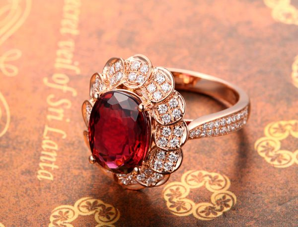 3.15ct Natural Red Tourmaline in 18K Gold Ring