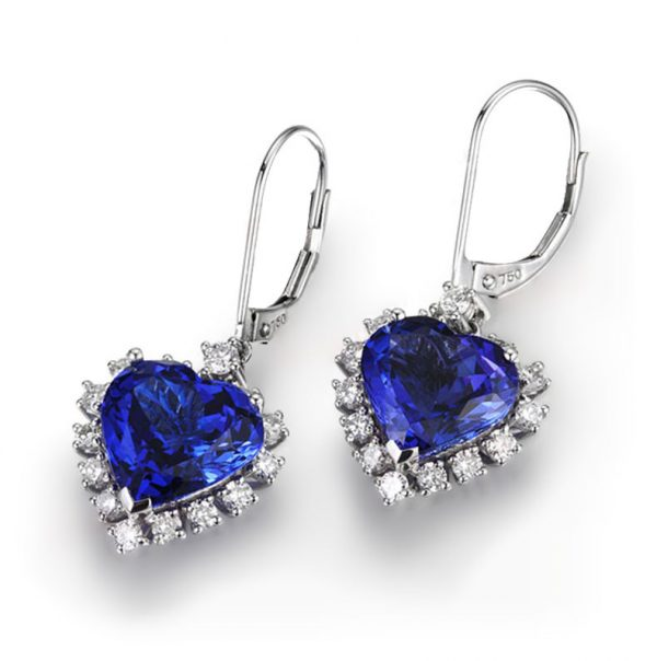 8.56ct Natural Blue Tanzanite in 18K Gold Earring