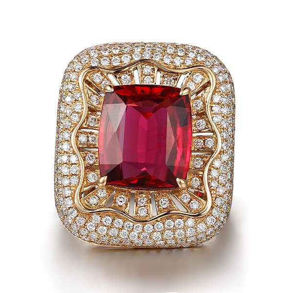 7.87ct Natural Red Tourmaline in 18K Gold Ring