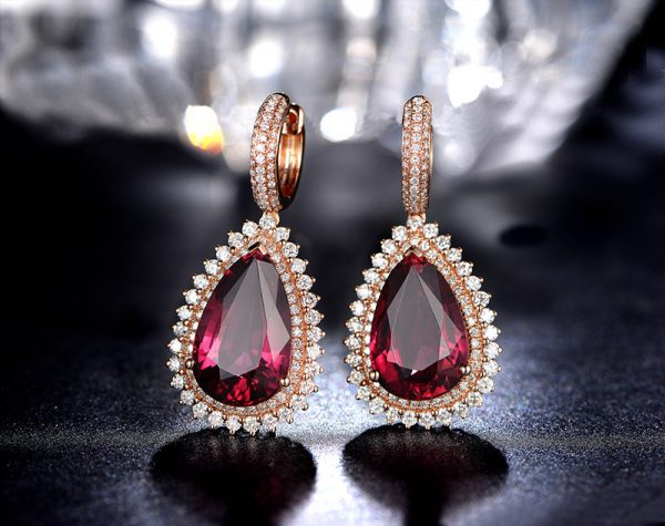 15.75ct Natural Red Tourmaline in 18K Gold Earring