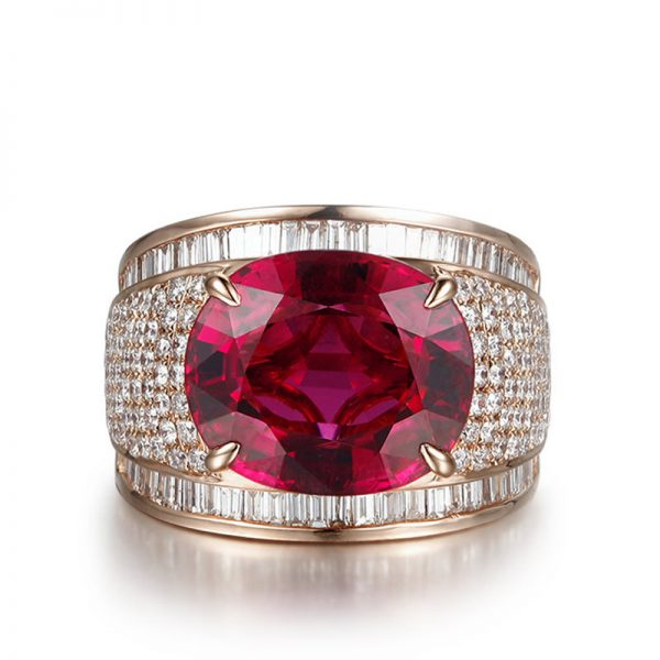 7.89ct Natural Red Tourmaline in 18K Gold Ring