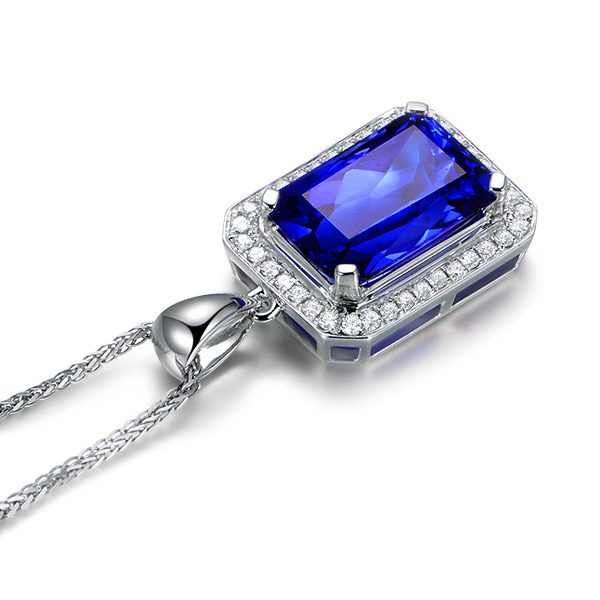 5.51ct Natural Blue Tanzanite in 18K Gold Pendant