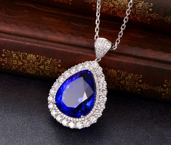 34.5ct Natural Blue Tanzanite in 18K Gold Pendant