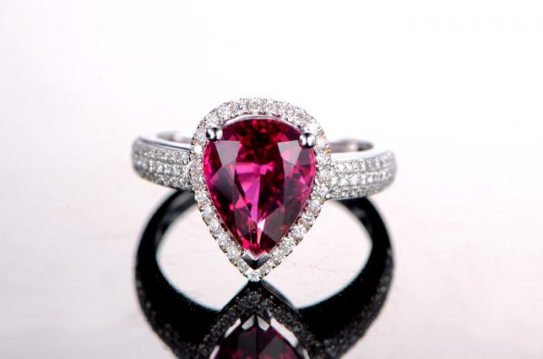 2.45ct Natural Red Tourmaline in 18K Gold Ring