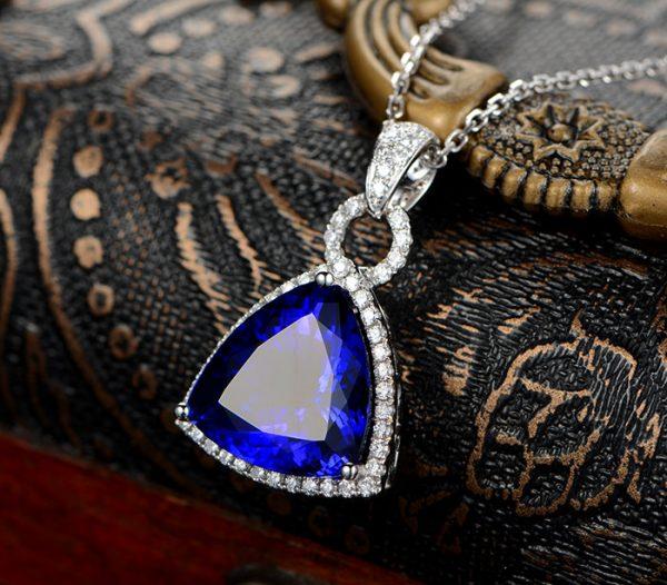 11ct Natural Blue Tanzanite in 18K Gold Pendant