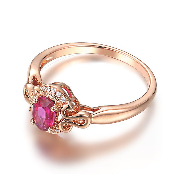 0.57ct Natural Red Ruby in 18K Gold Ring
