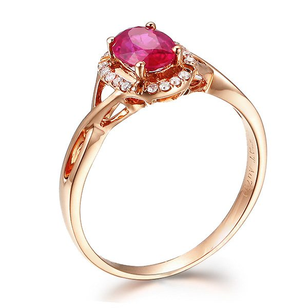 0.6ct Natural Red Ruby in 18K Gold Ring