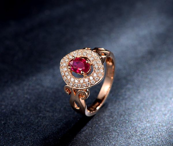 0.65ct Natural Red Ruby in 18K Gold Ring