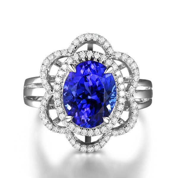 3.25ct Natural Blue Tanzanite in 18K Gold Ring