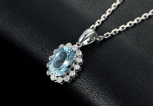 3.13ct Natural Blue Aquamarine in 18K Gold Pendant