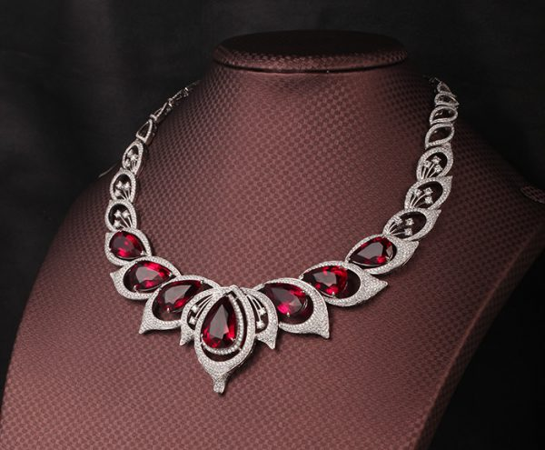 80.62ct Natural Red Tourmaline in 18K Gold Necklace