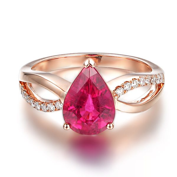 2.03ct Natural Red Tourmaline in 18K Gold Ring