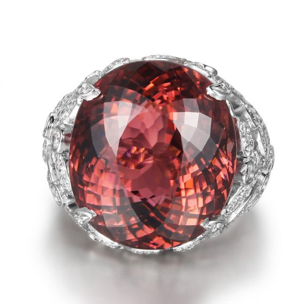 20.73ct Natural Pink Tourmaline in 18K Gold Ring