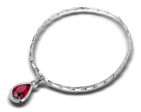 36.55ct Natural Red Tourmaline in 18K Gold Necklace