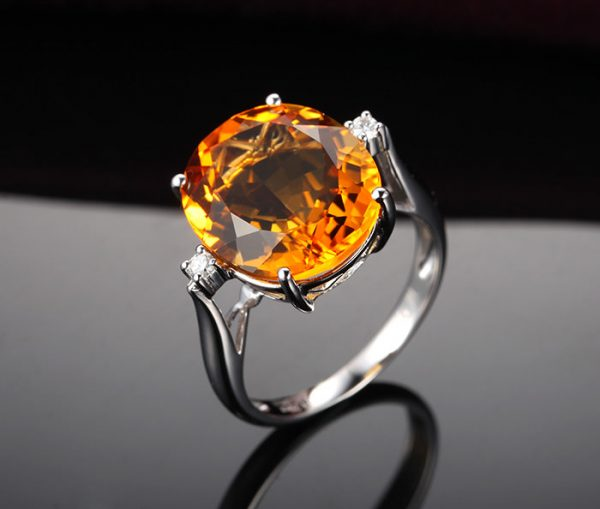 11.29ct Natural Yellow Citrine in 18K Gold Ring