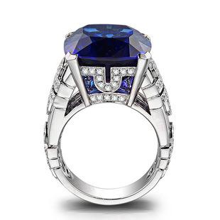 28.2ct Natural Blue Tanzanite in 18K Gold Ring