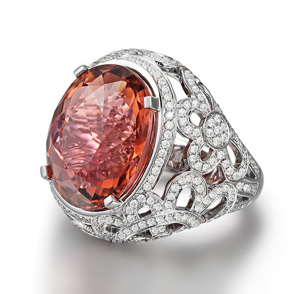 21.77ct Natural Pink Tourmaline in 18K Gold Ring