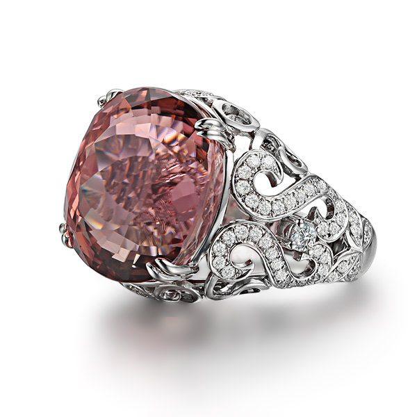19.87ct Natural Pink Tourmaline in 18K Gold Ring