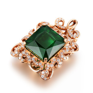 8.55ct Natural Green Tourmaline in 18K Gold Pendant