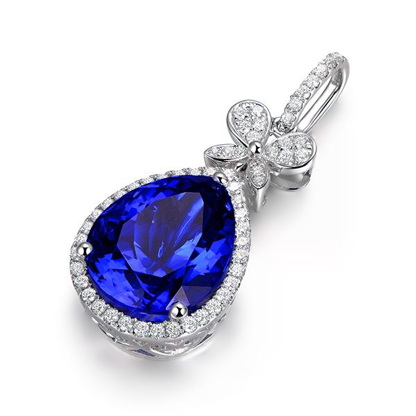 5.8ct Natural Blue Tanzanite in 18K Gold Pendant