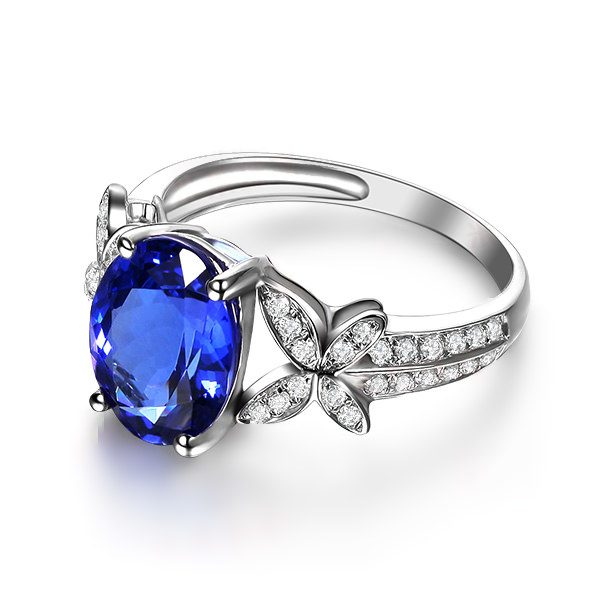 3.87ct Natural Blue Tanzanite in 18K Gold Ring